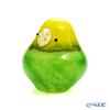 Ishizuka Glass 'My Family (Bird) - Budgerigar' Green F-71973 Animal Object H7.3cm