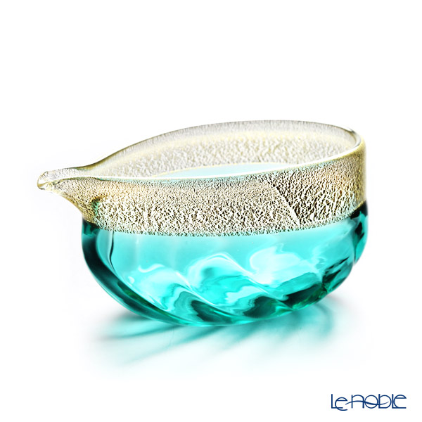 Tsugaru Vidro 'Turkey Blue' Gold foil FS-75549 Sake Cup, Sake Bowl (set of 3 for 2 persons)