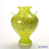 Tsugaru Vidro Glass Okawa Kaoru Studio Vase, Yellow leaf at Shirakami-Sanchi 津轻玻璃 大川薰工作室 F-79640 花插(花瓶) 白神山黄叶 25cm