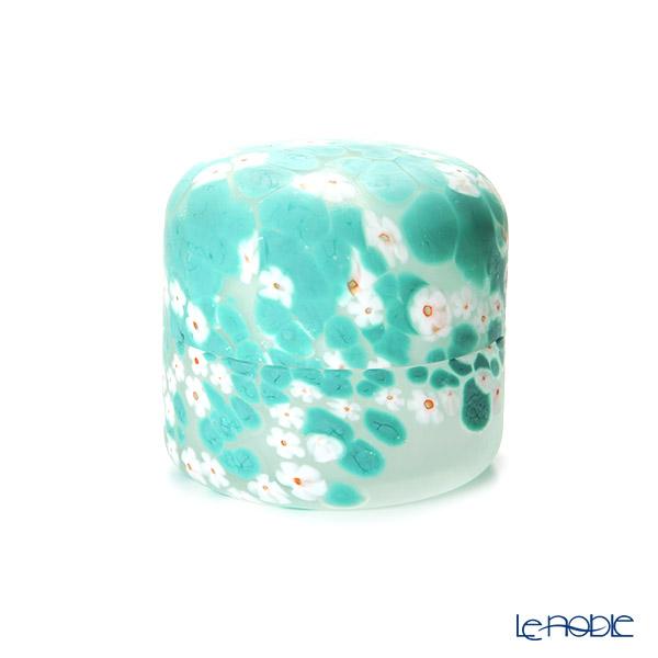 Tsugaru Vidro 'Flower & Dot' White & Green OK17-5041 Covered Box 10xH5cm