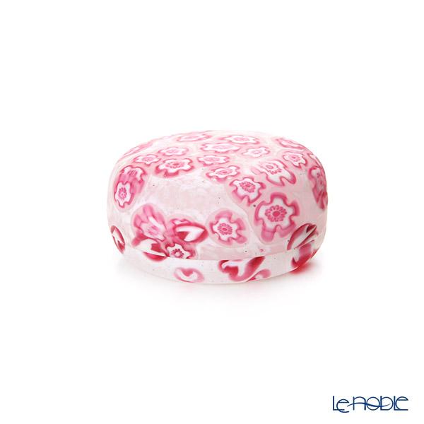 【1点限り】津軽びいどろ 大川薫工房香合 ピンク/ホワイト OK16-3067