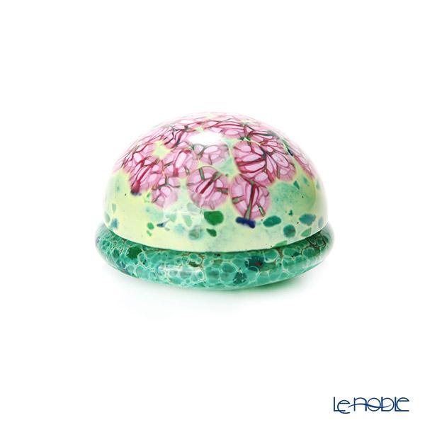 【1点限り】津軽びいどろ 大川薫工房 香合 グリーン/ピンク OK18-3054