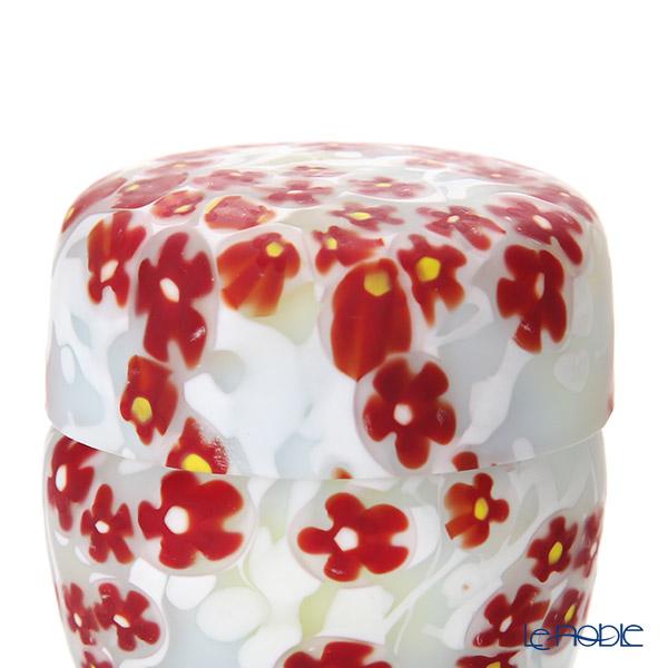 Tsugaru Vidro 'Flower & Marble' Pink & White OK19-3026 Covered Box 5xH5.5cm