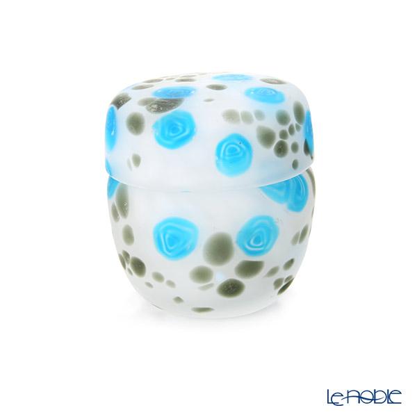 【1点限り】津軽びいどろ 大川薫工房 棗(ナツメ) ブルー/ホワイト OK19-3035