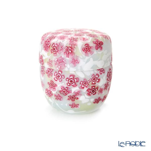 【1点限り】津軽びいどろ 大川薫工房 棗(ナツメ) ピンク/ホワイト OK19-3021