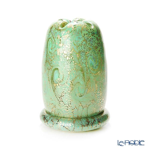 【1点限り】津軽びいどろ 大川薫工房 香炉 グリーン/ゴールド OK18-3103