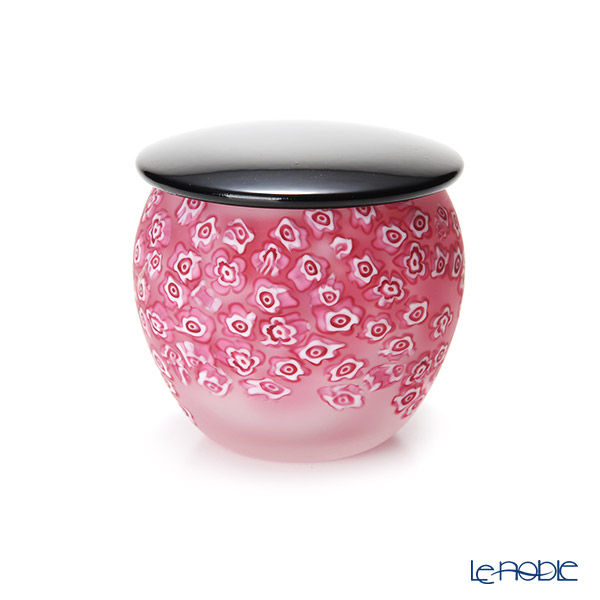 Tsugaru Vidro 'Flower' Pink OK17-3038 Jar with Lacquered lid