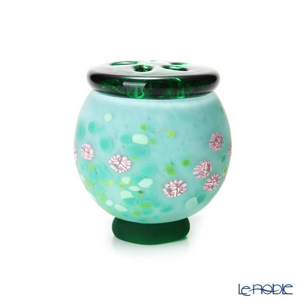 【1点限り】津軽びいどろ 大川薫工房香炉 グリーン/ピンク OK17-3029