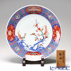 【伝統工芸】古琳庵窯 染錦孔雀絵 飾皿