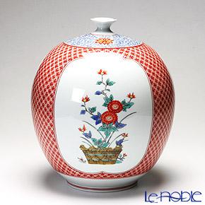 【伝統工芸】古琳庵窯 錦地紋三方割花瓶