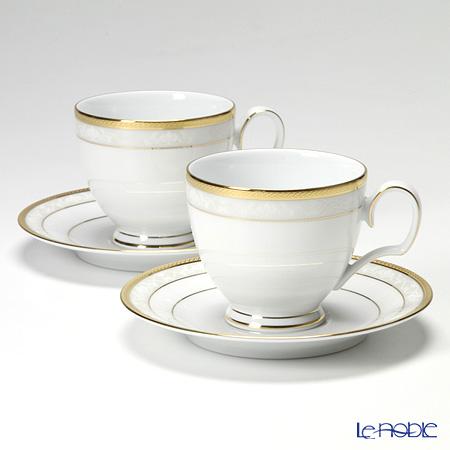 ノリタケ ファインポーセレン ハンプシャーゴールドコーヒーカップ&ソーサー ペア P91988/4335