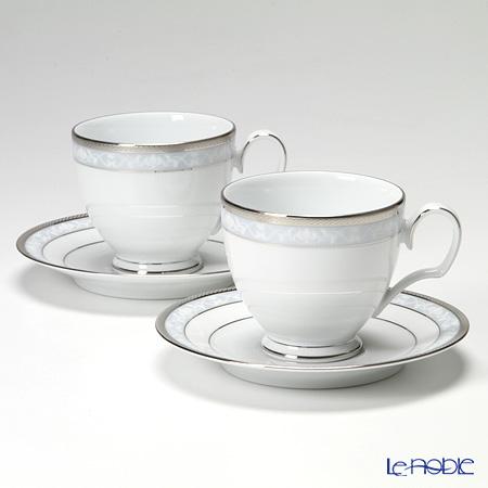ノリタケ ファインポーセレン ハンプシャープラチナコーヒーカップ&ソーサー ペア P91988/4336