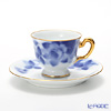 Okura Art China 'Blue Rose' Gold 62C/811A Demitasse Coffee Cup & Saucer 80ml