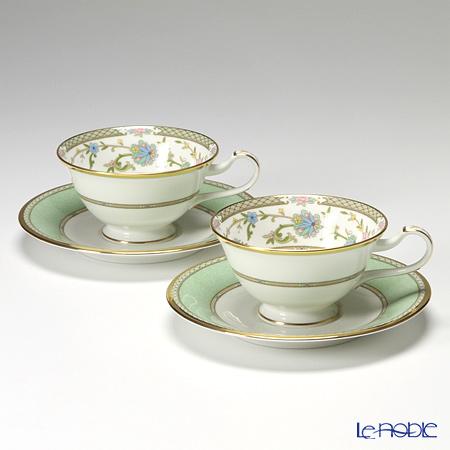 ノリタケ ヨシノ Y6988/9983ティー・コーヒー兼用 碗皿 ペア グリーン