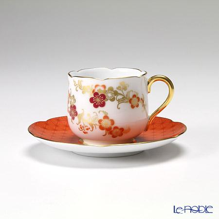 大倉陶園 京友禅シリーズ 梅小紋デミタス碗皿(カップ&ソーサー) 12C/E140