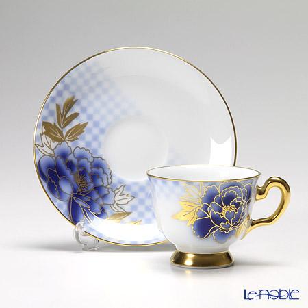大倉陶園 京友禅シリーズ 市松牡丹デミタス碗皿(カップ&ソーサー) 62C/E144
