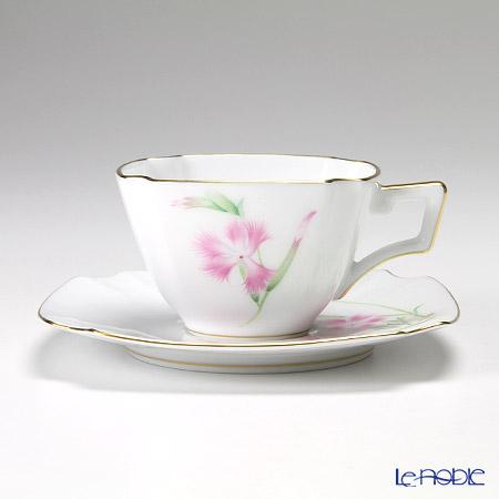 大倉陶園 「新日本の雅」より 茶花シリーズ 撫子 碗皿(カップ&ソーサー) 108C/E154