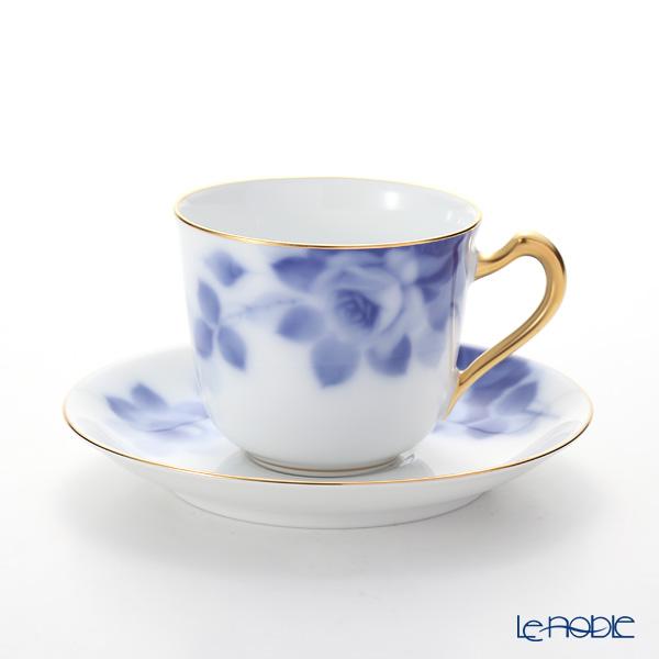 Okura Art China Blue rose Coffee Cup plate 57C/8011