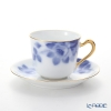 Okura Art China 'Blue Rose' Gold 57C/8011 Coffee Cup & Saucer 175ml