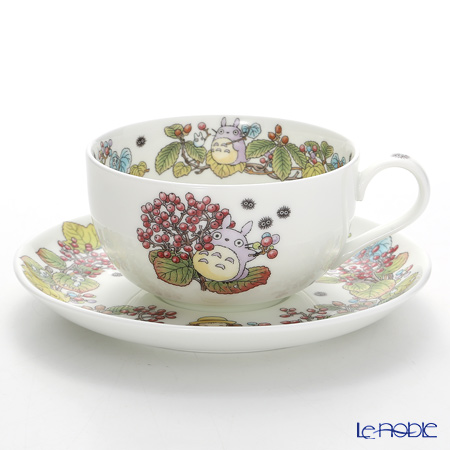 Noritake 'My Neighbor Totoro - Viburnum Dilatatum' T97285A/4660-5 Milk Tea Cup & Saucer 325ml 则武 吉卜力工作室 龙猫/豆豆龙 奶茶杯碟 忍冬