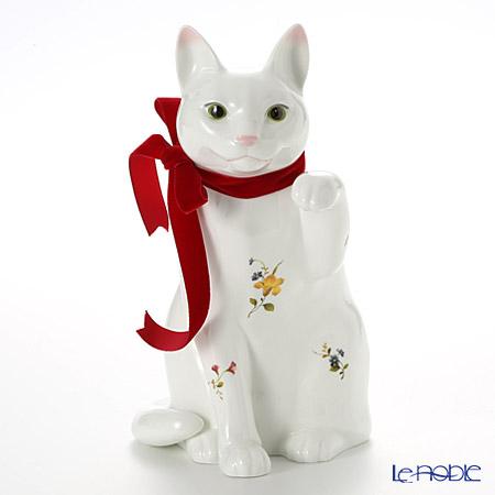 ノリタケ 招き猫レッドリボン T54550/AC361 花柄