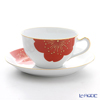 Okura Art China 'Sakura - Kissho Cherry Blossom' Red & Gold 1C/A682-5 Tea / Coffee Cup (combined) & Saucer 235ml