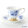 Okura Art China 'Rose Cup Collection - Rosa Multiflora' Blue & Gold 46C/A783-2 Coffee Cup & Saucer 175ml