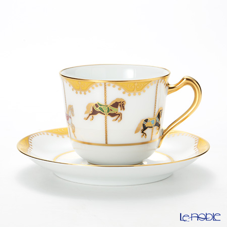 大倉陶園 うまくゆく 回転木馬 コーヒーカップ&ソーサー 57C/1901