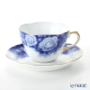 Okura Art China 'Rose Cup Collection - Rosa Chinensis' Blue & Gold 90C/A783-3 Tea / Coffee Cup (combined) & Saucer 240ml