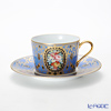 Noritake tribute collection Cappuccino Cup plate (blue flowers emoticons) T2401/H-765