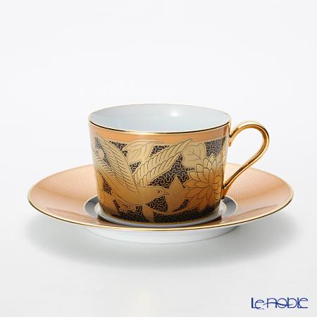 ノリタケ オマージュコレクション カプチーノ碗皿(橙絵花鳥文) T2401/H-766