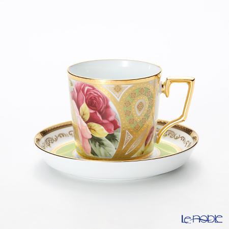 ノリタケ オマージュコレクションコーヒー碗皿(若草色絵薔薇文) T2402/H-770