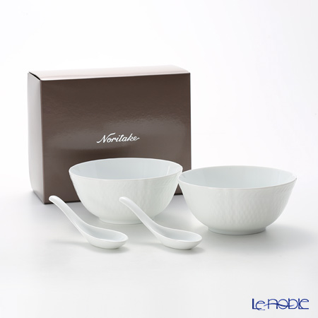Noritake Cher Blanc Bowl 16cm & Chinese Spoon set of 2 P004U/1655