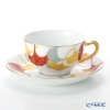 Okura Art China 'Anniversary Countdown - Gingko' Red Yellow Green 1C/E193 Tea / Coffee Cup (combined) & Saucer 235ml