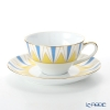 Okura Art China 'Anniversary Countdown - Art Deco' Light Blue Yellow Gold 30C/E194 Tea / Coffee Cup (combined) & Saucer 210ml