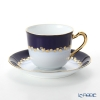 Okura Art China 'Anniversary Countdown - Vine' Azure Blue & Gold 57C/E197 Coffee Cup & Saucer 175ml