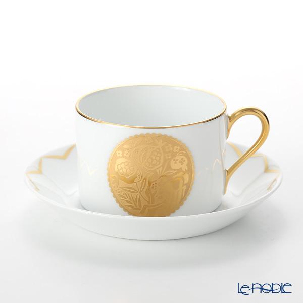 大倉陶園 100周年カウントダウン碗皿シリーズ第2弾 ティー・コーヒー碗皿 金蝕柘榴紋 54C/E199
