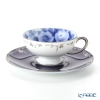Okura Art China 'Rose Cup Collection - Rosa Gallica' Blue & Platinum 103C/A783-4 Tea Cup & Saucer Gallica rose