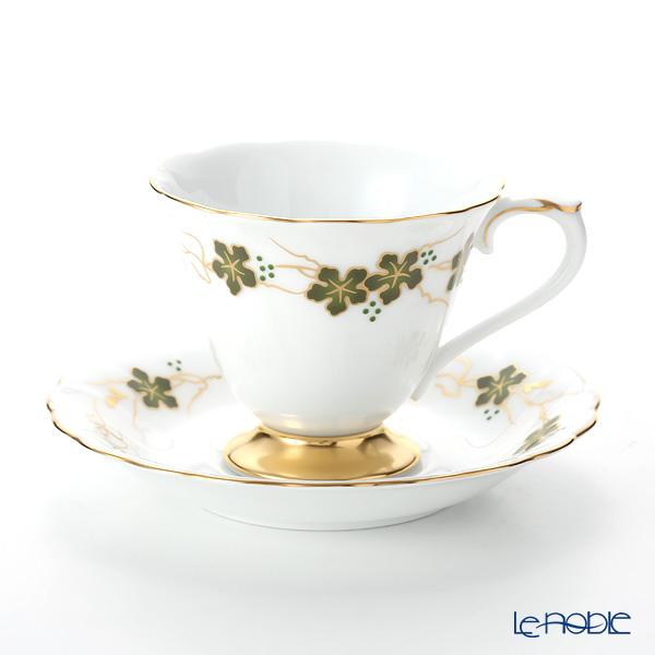 Okura Art China 'Anniversary Countdown - Ampelopsis' Raised Green & Gold 46C/E203 Coffee Cup & Saucer 175ml
