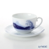 Okura Art China 'Anniversary Countdown - Mt. Fuji & Wave' Blue 59C/E204 Morning Cup & Saucer 290ml