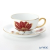 Okura Art China 'Anniversary Countdown - Magnolia' Red & Gold 89C/E205 Tea / Coffee Cup (combined) & Saucer 220ml