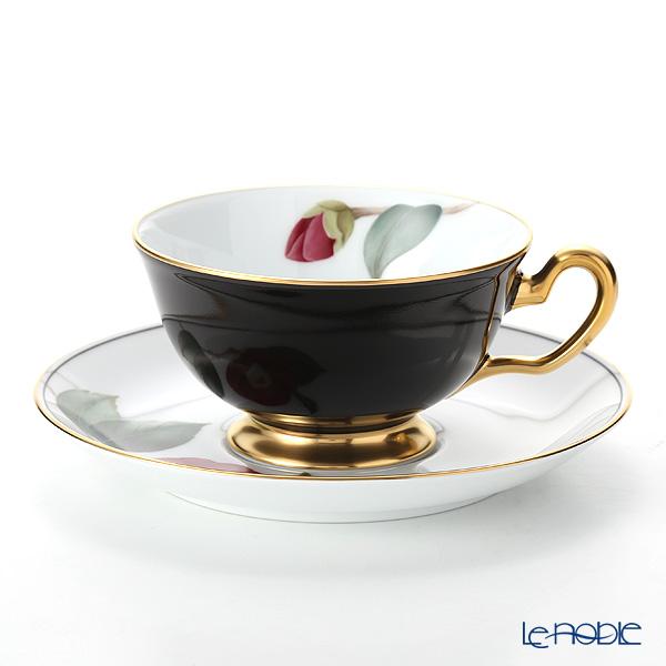 大倉陶園 碗皿暦 6C/E212 カップ&ソーサー 2月・黒侘助