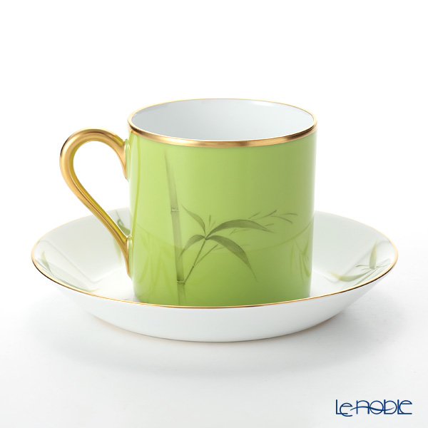 Okura Art China '12 Months / July - Young Bamboo' Lacquered Green & Gold 85C/E217 Cup & Saucer 170ml