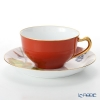 Okura Art China '12 Months / November - Wild Vine & Robin' Lacquered Vermilion Red 1C/E221 Cup & Saucer 235ml