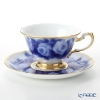 Okura Art China 'Rose Cup Collection - La France' Blue & Gold 70C/A783-5 Tea / Coffee Cup (combined) & Saucer 195ml
