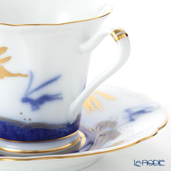 Okura Art China Bowl dish calendar 80C/E219 12 months Cup & Saucer September-Rabbits and the Waves