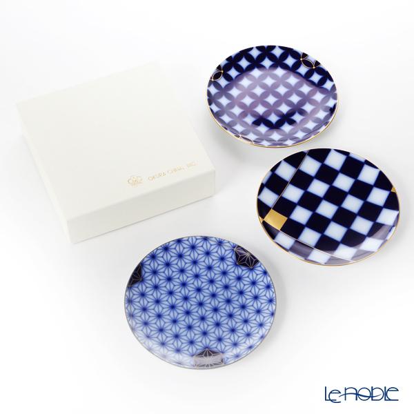 大倉陶園 瑠璃伝統模様 34HT/E210画替わり中皿3枚組
