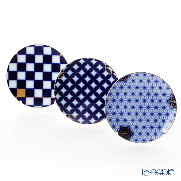 大倉陶園 瑠璃伝統模様 34HT/E210 画替わり中皿3枚組
