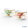 Okura Art China 'Phoenix' Red & Green with Raised Gold 70CR/E228 Tea / Coffee Combined Cup & Saucer 200ml (set of 2 colors)