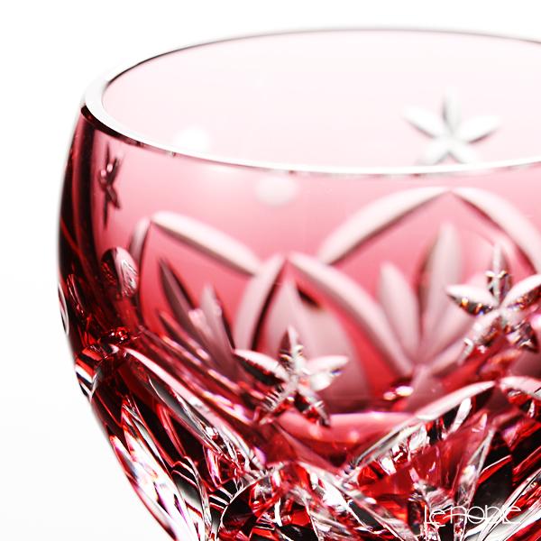 Kagami Crystal / Kiriko Flashed Glass '12 Months / Peach Blossom - March' Red T591/2874CAU Sake Cup